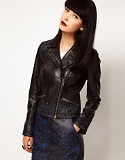 ASOS BLACK By Markus Lupfer Leather Biker Jacket In Print