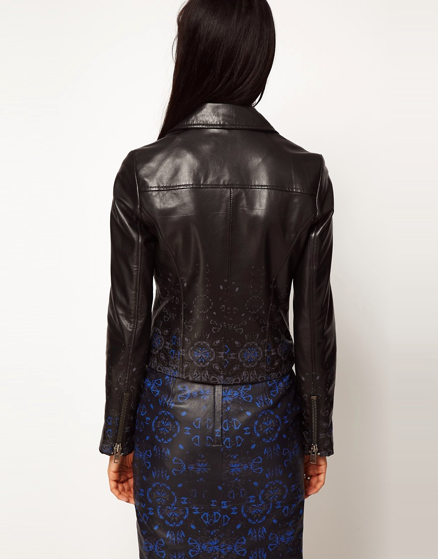 Image 2 of ASOS BLACK By Markus Lupfer Leather Biker Jacket In Print