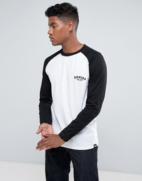 Dickes Baseball Raglan Long Sleeve T-Shirt in White