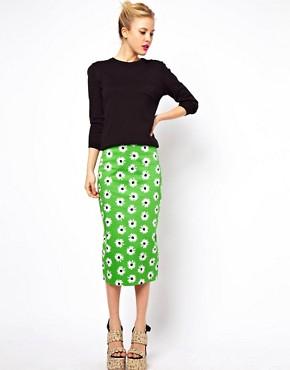 Image 1 ofASOS Pencil Skirt in Retro Daisy Print