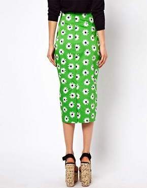 Image 2 ofASOS Pencil Skirt in Retro Daisy Print
