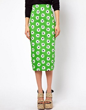 Image 4 ofASOS Pencil Skirt in Retro Daisy Print