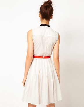 Image 2 ofAntipodium Last Resort Shirt Dress with Contrast Collar and Belt