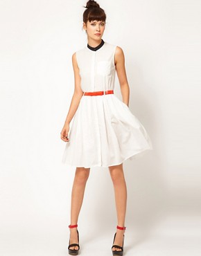 Image 4 ofAntipodium Last Resort Shirt Dress with Contrast Collar and Belt
