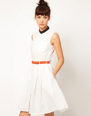 Image 1 ofAntipodium Last Resort Shirt Dress with Contrast Collar and Belt