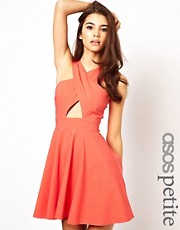 ASOS PETITE Exclusive Cut Out Front Skater Dress