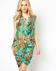 Traffic People Silk Floral Print Drape Dress