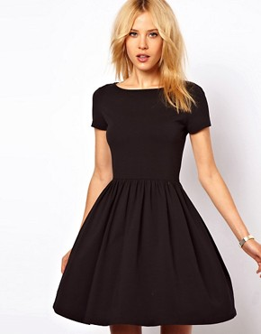 Image 1 ofASOS Skater Dress With Slash Neck And Short Sleeves