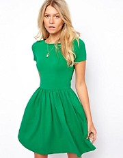 ASOS Skater Dress With Slash Neck And Short Sleeves