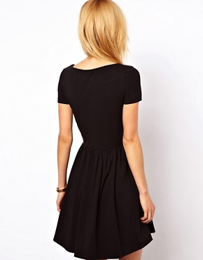 Image 2 ofASOS Skater Dress With Slash Neck And Short Sleeves