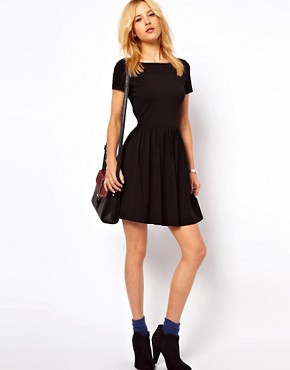 Image 4 of ASOS Skater Dress With Slash Neck And Short Sleeves
