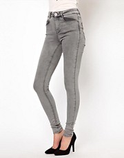 ASOS Ridley Super Soft Ultra Skinny Jeans in Light Gray Vintage Wash