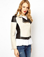 Karen Millen Biker Jacket with Leather Inserts
