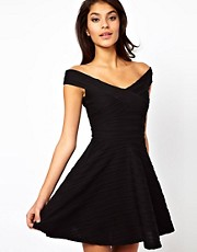 ASOS Off Shoulder Skater Dress In Rib