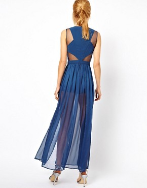 Image 2 ofASOS PETITE Exclusive Maxi Dress With Embellished Organza