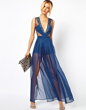 Image 4 ofASOS PETITE Exclusive Maxi Dress With Embellished Organza