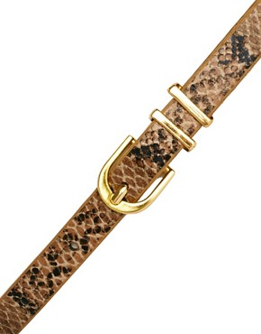 Image 2 ofASOS CURVE Metal Keeper Super Skinny Waist Belt In Snake Print