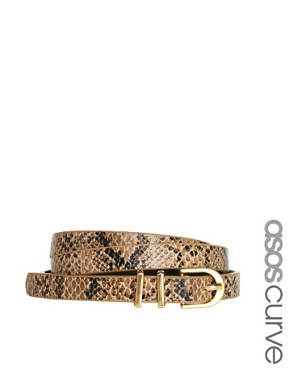 Image 1 ofASOS CURVE Metal Keeper Super Skinny Waist Belt In Snake Print