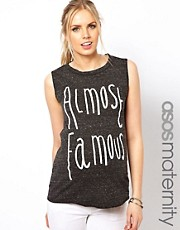 ASOS Maternity T-Shirt With &#39;Almost Famous&#39; Beading