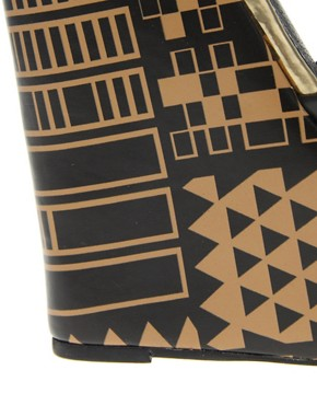 Image 2 ofASOS HUNT Super High Leather Wedges with Egyptian Print