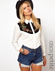 ASOS PETITE Exclusive Western Embroidered Shirt