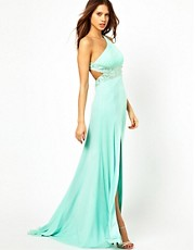 Forever Unique One Shoulder Maxi Dress with Embellished Waist