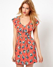 Love Floral Print Ruffle Dress