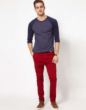 Image 4 ofASOS 3/4 Sleeve T-Shirt With Contrast Raglan Sleeves