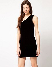 French Connection Velvet One Shoulder Dress
