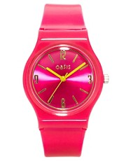 Oasis Ladies Pink Plastic Bracelet Watch with Pink Dial