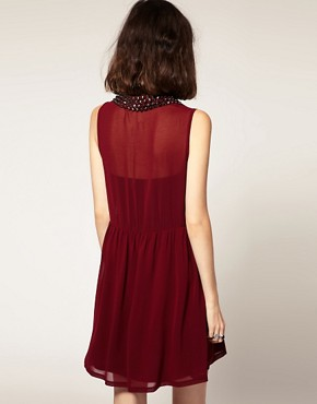 Image 2 ofGoldie Marina Chiffon Sleeveless Shirt Dress With Stud Collar