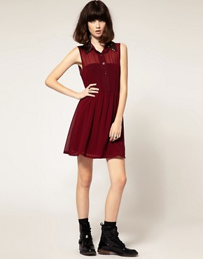 Image 4 ofGoldie Marina Chiffon Sleeveless Shirt Dress With Stud Collar