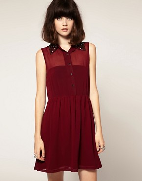 Image 1 ofGoldie Marina Chiffon Sleeveless Shirt Dress With Stud Collar