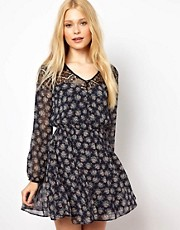 River Island Skater Dress With Floral Print