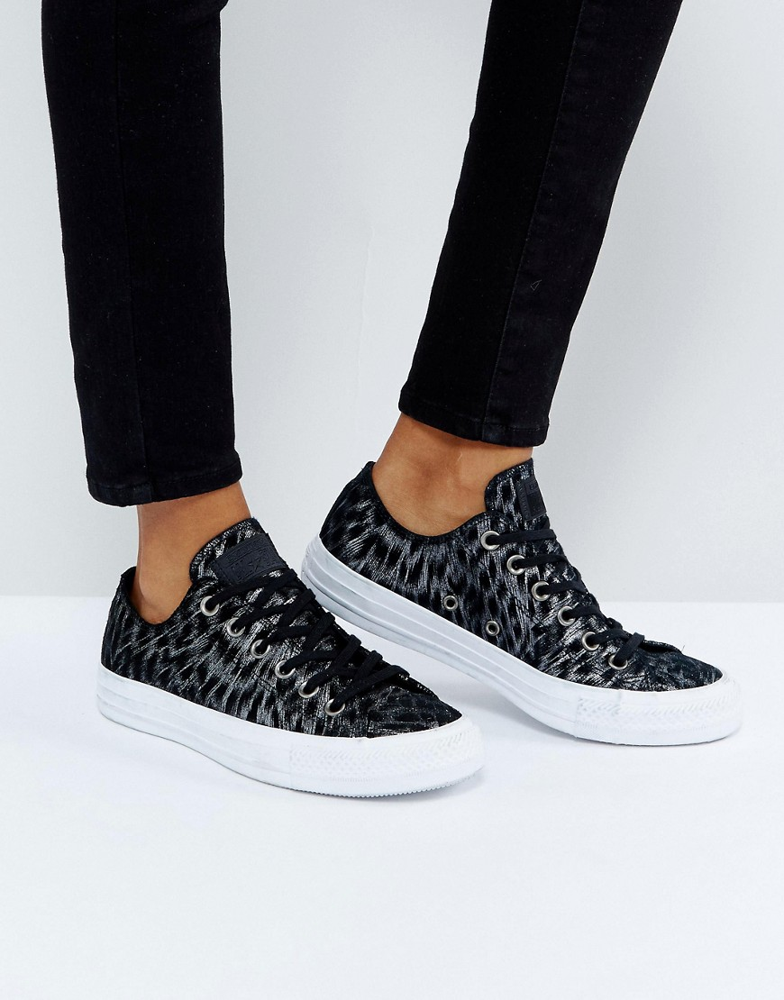 Zapatillas de deporte con diseño de leopardo en negro metalizado Chuck Taylor All Star Converse