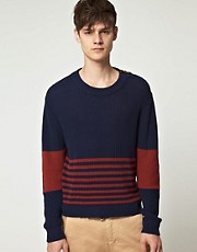 Velour Half Striped Sweater