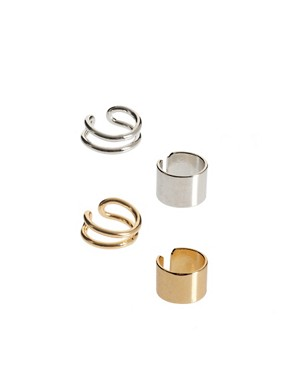 Image 1 ofASOS Pack of Four Ear Cuffs