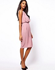 ASOS Midi Dress With Drape Front