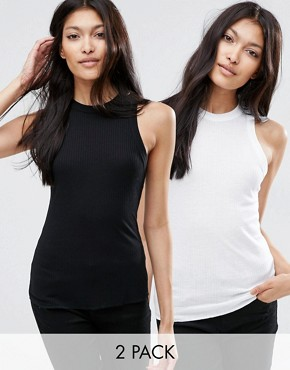 ASOS The Fancy Rib Vest 2 Pack Save 10%
