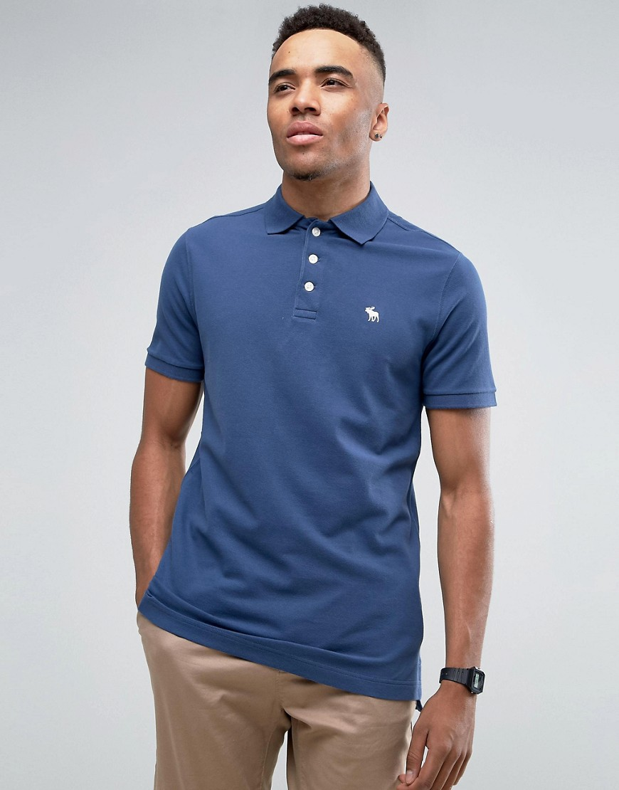 Abercrombie & Fitch Pique Polo Stretch Slim Fit Icon Logo in Blue - Blue