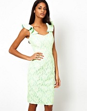 Hybrid Dress In Fluro Lace with Frill Sleeve