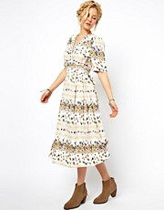 ASOS Midi Dress In Vintage Floral Print