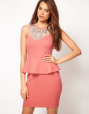 Image 1 ofLipsy Embellished Neck Dress With Peplum