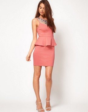 Image 4 ofLipsy Embellished Neck Dress With Peplum