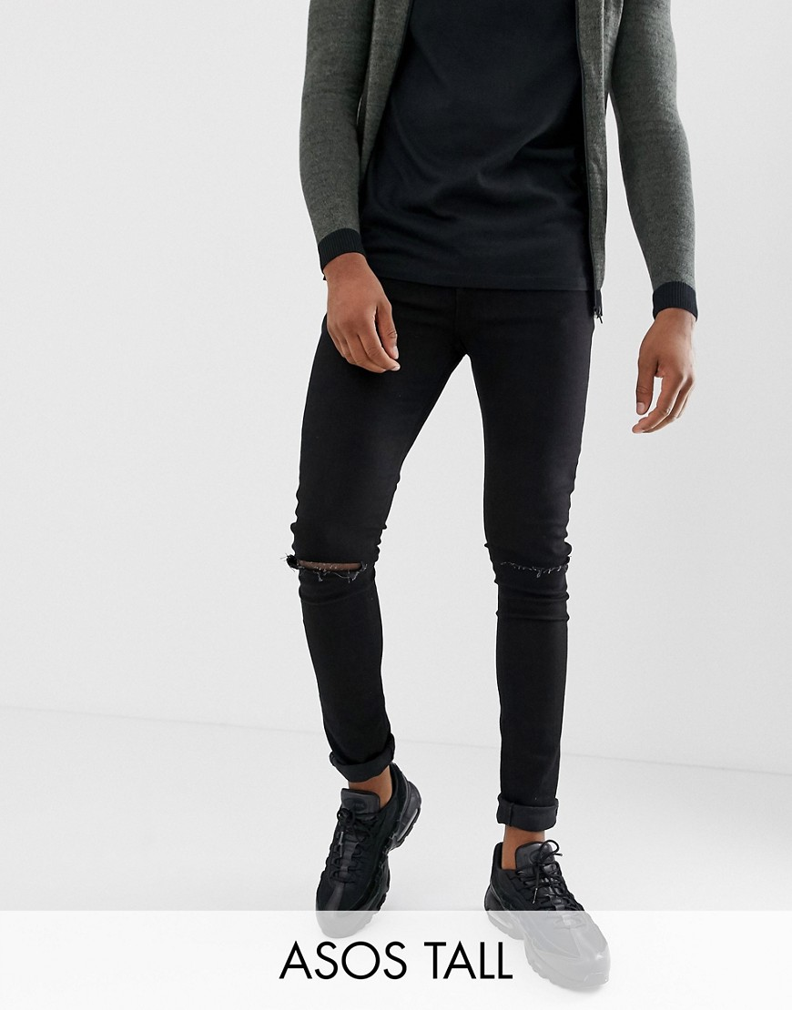 ASOS TALL Super Skinny Jeans With Knee Rips - Black