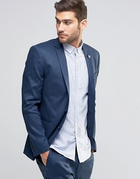 ASOS Skinny Suit Jacket in Linen Mix