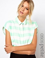 ASOS PETITE Blouse With Double Collar In Stripe Print