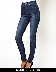ASOS Uber High Waisted Ultra Skinny Jeans in Mid Stonewash