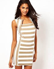John Zack Mini Dress with Cut Out Neck