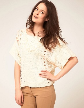 Image 1 ofKookai Knit Jumper With Fringe Detail